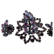 JULIANA Brooch and Earrings Set ~ Made For Madeleine ~ Bicolor and Purple Rhinestones