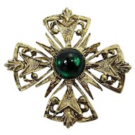 Maltese Cross Brooch ~ Emerald Green Cabochon