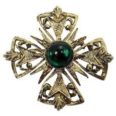 Maltese Cross Brooch ~ Emerald Green Cabochon