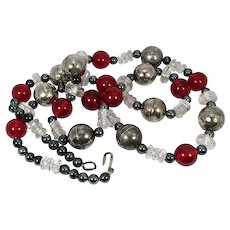 Vintage Boho Ethnic Tribal Necklace ~ Chunky Metal Beads ~ Clear, Red, Hematite Beads