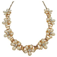Teardrop Faux Pearls and Rhinestones Floral Necklace ~ Vintage Charm
