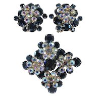 JULIANA Set - Tiered Brooch and Earrings ~ Sapphire Blue and Aurora Borealis Rhinestones