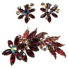 6 Tiers! ~ Carved Glass Leaves, Red Rhinestones ~ Brooch & Earrings Set