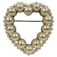 Vintage Heart Brooch ~ Faux Pearls
