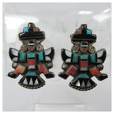 1940s-50s Zuni Knifewing Mosaic Inlay Earrings ~ Sterling Silver ~ Semi-Precious Stones