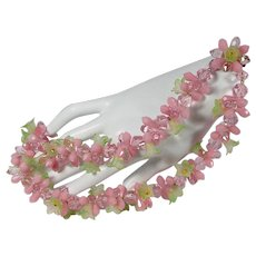 1940s Made In Germany Lucite Floral Necklace ~ Pink and Chartreuse Flowers