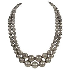 1950s IGUALA MEXICO Sterling Silver Double-Strand Graduated Bead Necklace ~ Signed By Artisan