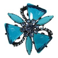 Rhinestone and Lucite Brooch ~ Turquoise and Blue ~ Japanned Metal ~ Vintage
