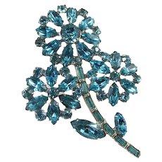 Bright Aqua Rhinestone Flower Brooch ~ Vintage