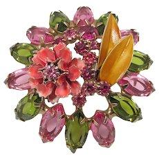 HATTIE CARNEGIE Enamel and Rhinestones Flower Brooch ~ Pink and Green ~ Vintage
