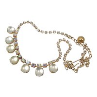 Frosted Glass Cabochons and Rhinestones ~ Vintage Necklace ~ 1950s ~ Delicate Beauty
