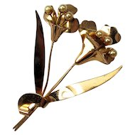 1930s CORO ~ STERLING ~ Huge Dimensional Flower Brooch ~ Faux Pearls ~ Classic!