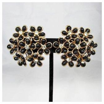 1950s Funky Chic ~ Large Flower Cluster Earrings
