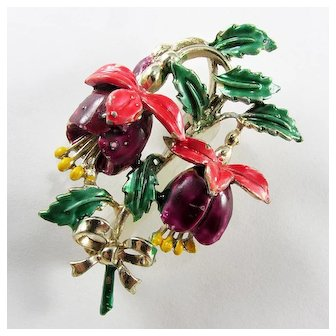 c1945-50s ~ Enameled Fuchsia Brooch by EXQUISITE ~ Purple and Pink
