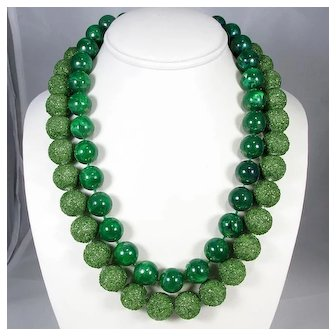 Green Sugar Beads and Faux Jade ~ 1950s Double Strand Necklace