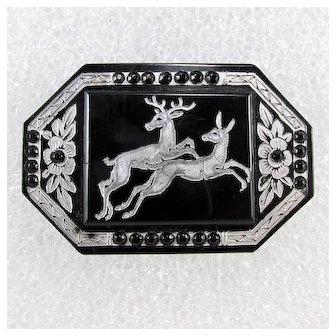 Made In France ~ Art Deco Era Brooch ~ Leaping Stag and Doe