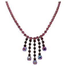Rhinestone Dangles Necklace ~ Red, Pink, Aurora Borealis ~ Vintage ~ 1950s
