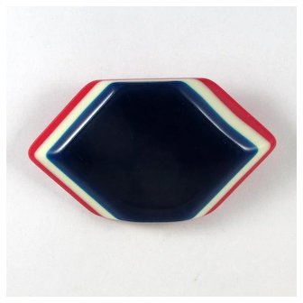 Patriotic Laminated Celluloid Brooch ~ Red, White and Blue ~ 1930s-40s ~ Vintage