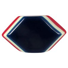 Patriotic Laminated Celluloid Brooch ~ Red, White and Blue ~ Nautical ~ 1930s-40s