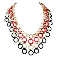 1930s-40s RARE Celluloid Bib Necklace ~ Patriotic ~ Red, White and Blue Dangles