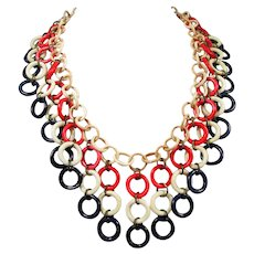 1930s-40s Celluloid Bib Necklace ~ Patriotic Red, White and Blue Dangles ~ RARE