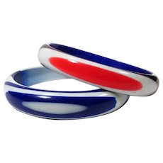 Patriotic Bangles ~ 1960s New Old Stock Best Plastic Co ~ Summer Nautical Wear