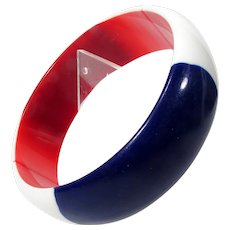 Patriotic Lucite Bangle ~ Red, White and Blue ~ Nautical ~ Vintage