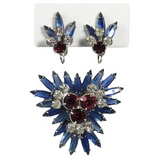 JULIANA Brooch and Earrings Set ~ Red, Blue and Clear ~ Verified