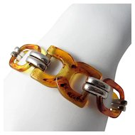 Sterling Silver and Lucite Link Bracelet ~ Faux Tortoise ~ Vintage