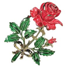Floral Brooch by EXQUISITE ~ Handpainted Enamel Rose ~ Vivid and Dimensional ~ 1950s