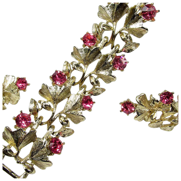 Gold Tone Leaf Design Ruby Red and Pink Rhinestones Vintage Brooch and Earring Set