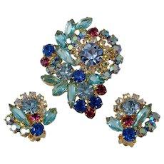 JULIANA Set ~ Aqua, Fuchsia, Cornflower Blue Rhinestones ~ Brooch and Earrings