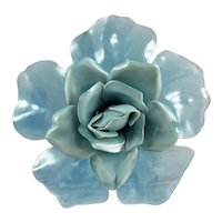 1930s-40s Cellulose Acetate Flower Brooch ~ Dusky Blue Dimensional Rose
