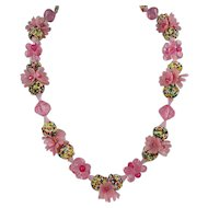 Western Germany Necklace ~ Pink Flowers, Sprinkles, Bead Clusters ~ c1950s-60s Shabby Chic