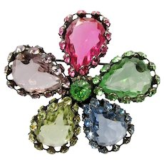 Multicolored Glass Pear-Shaped Stones Caged By Double Row of Rhinestones ~ 1960s Brooch