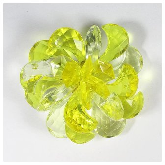 GERMANY ~ Lucite Brooch ~ Sculptural ~ Shades of Translucent Yellow ~1960s
