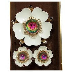 Sarah Coventry Enamel Flower Brooch and Earrings ~ Watermelon Glass Stone