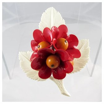 Celluloid Brooch ~ Dimensional Flower Bouquet On Leaf ~ Vintage