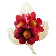 Celluloid Brooch ~ Dimensional Flower Bouquet On Leaf ~ Vintage