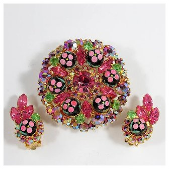 JULIANA Pink Polka Dot Brooch and Earrings Set ~ Petite Fleur