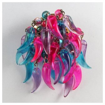 1960s Mod Lucite Pin With Dangles ~ Hot Pink, Blue, Lilac ~ Hong Kong