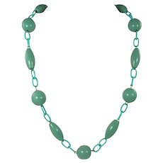 1930s Necklace ~ Aqua Celluloid Chain & Clasp, Seafoam Wooden Beads
