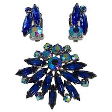 Vintage Brooch & Earrings Set ~ Sapphire Blue Rhinestones, AB Accents