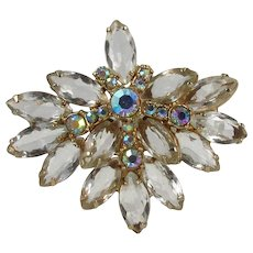 Juliana Brooch ~ Clear Unfoiled Navettes, Aurora Borealis Rhinestones