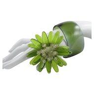 Dimensional Lucite Flower Brooch + Bangle ~ Olivine ~ Vintage