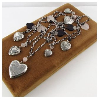 QTC Sterling Heart Locket & Charms Necklace ~ Rose Quartz & Black Onyx