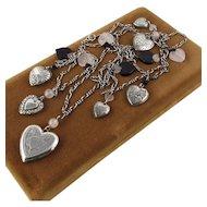 QTC Sterling Heart Locket & Charms Necklace ~ Rose Quartz & Black Onyx