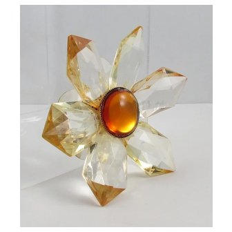 Clear Lucite With Amber Ombre Edges ~ Flower Brooch ~ 1960s Vintage