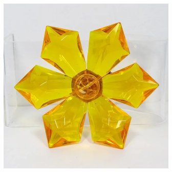 West Germany Lucite Flower Brooch ~ Orange-Yellow ~ 1960s ~ Vintage
