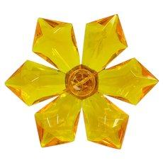 West Germany Lucite Flower Brooch ~ Orange-Yellow ~ 1960s ~ Vintage